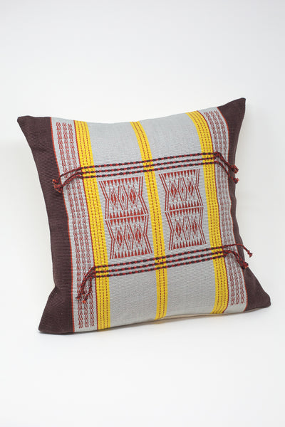 Oroboro Store Konyak Tribe Woven Pillow in Dark Brown, Grey, Yellow & Red | Oroboro Store | New York, NY