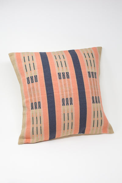 Oroboro Store Konyak Tribe Woven Pillow in Indigo, Coral & Grey | Oroboro Store | New York, NY