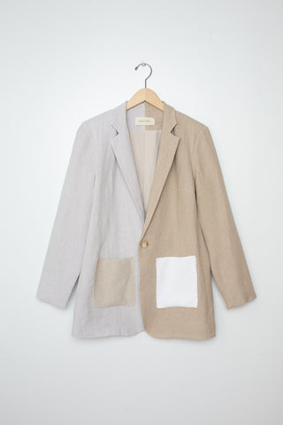 Correll Correll Knit Patch Blazer in Natural