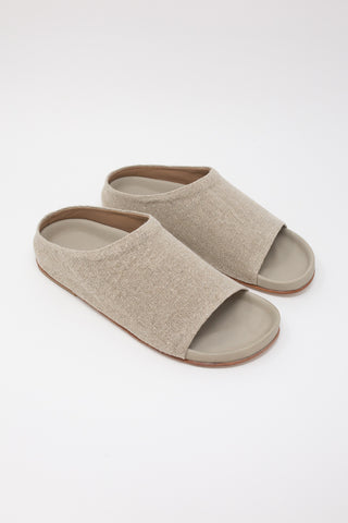 Lauren Manoogian Burlap Mono Slide in Linen diagonal front view