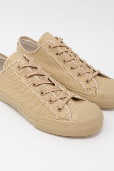 Studio Nicholson Merino Vulcanized Sole Canvas Shoe in Sand diagonal front detail view