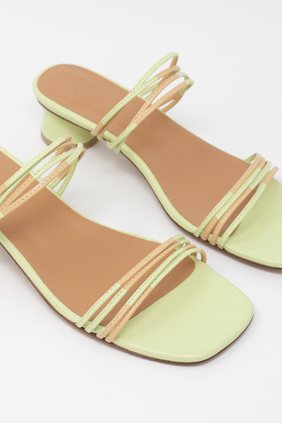 LOQ Juli Mule in Pistachio Multi diagonal front detail view
