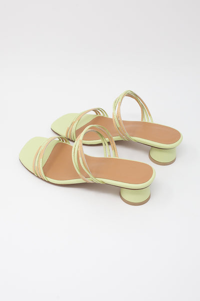 LOQ Juli Mule in Pistachio Multi diagonal back view