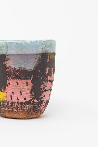 Shino Takeda Cup in Light Blue Interior with Grid Painting in Pink | Oroboro Store | New York, NY