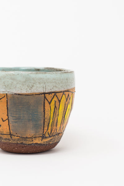 Shino Takeda Cup in Light Blue Interior and Line Drawing with Red and Yellow | Oroboro Store | New York, NY