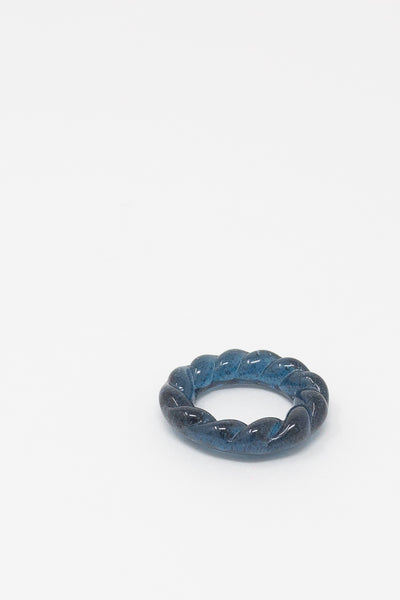 Leigh Miller Glass Rope Ring - Hand-Cast Artisan Glass in Slate
