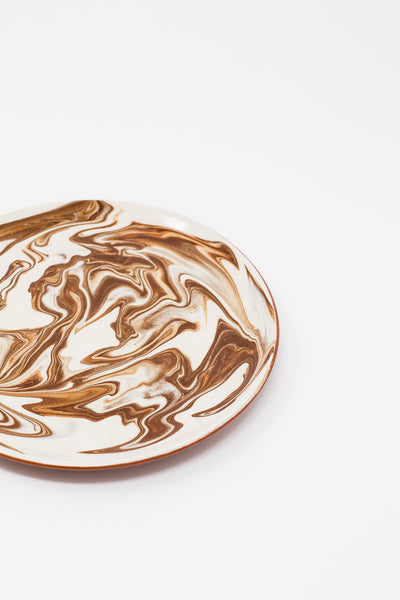 Oroboro Store Large Plate in Brown Spiral | Oroboro Store | New York, NY