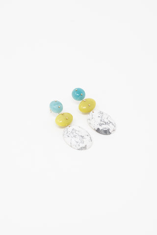 Jessica Winzelberg Mobile Earrings in Amazonite, Jade & Howlite | Oroboro Store | New York, NY