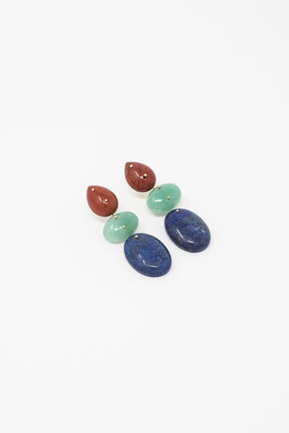 Jessica Winzelberg Mobile Earrings in Jasper, Aventurine & Lapis | Oroboro Store | New York, NY