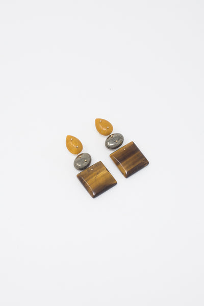 Jessica Winzelberg Mobile Earrings in Jasper, Pyrite & Tigers Eye | Oroboro Store | New York, NY