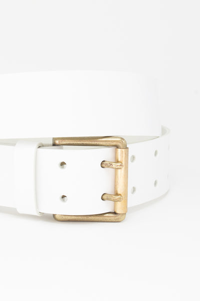 Ichi Antiquites Leather Belt in White buckle detail view
