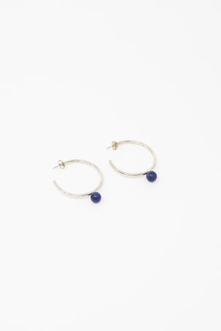 Quarry Large Asha Earrings in Silver and Sodolite | Oroboro Store | New York, NY