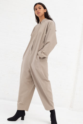 Black Crane Easy Jumpsuit in Ash Cotton Flannel | Oroboro Store | New York, NY