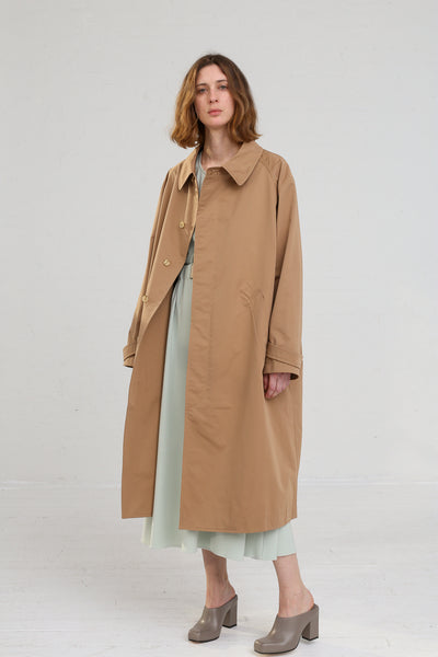 Nehera Comm Trench Cotton Blend in Camel on model view front