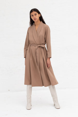 Black Crane Classy Wrap Dress in Camel Tencel/Cotton | Oroboro Store | New York, NY