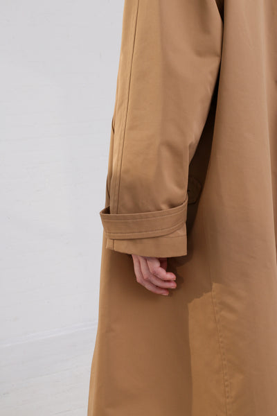 Nehera Comm Trench Cotton Blend in Camel on model view sleeve detail