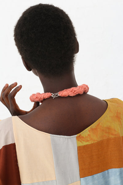 Erin Considine Twist Collar in Raw Silk with Silver Clasp and Coral | Oroboro Store | New York, NY