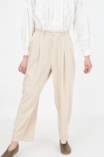 nest Robe Cotton Corduroy Double Tuck Pants in Cream | Oroboro Store | New York, NY