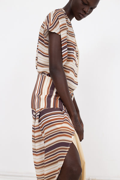 Nehera Donges Georgette Fine Print in Brown Mix | Oroboro Store | New York, NY