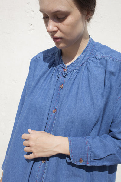 Caron Callahan Maria Shirt Dress in Indigo Oxford | Oroboro Store | Brooklyn, New York