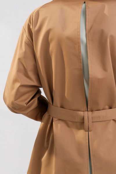 Nehera Comm Trench Cotton Blend in Camel on model view back detail