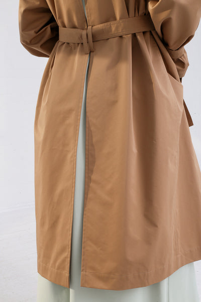 Nehera Comm Trench Cotton Blend in Camel on model view back