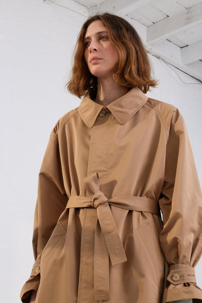 Nehera Comm Trench Cotton Blend in Camel on model view with belt