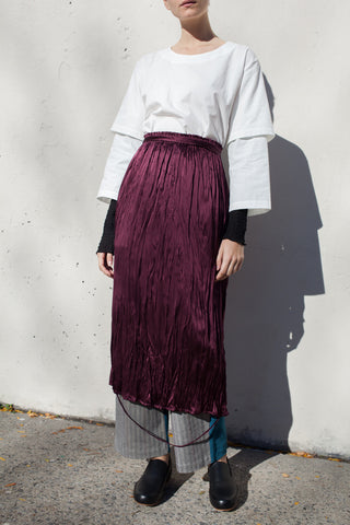 Loop Hem Elastic Skirt with Waist Tie in Wine Washed