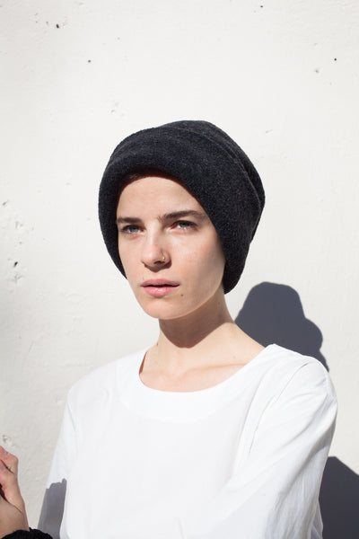 Cylinder Slouch Hat in Charcoal Wool