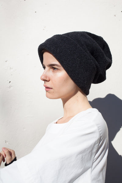 Rowena Sartin Cylinder Slouch Hat in Charcoal Wool | Oroboro Store | Brooklyn, New York
