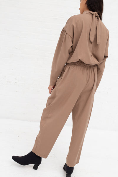 Black Crane Tulip Jumpsuit in Camel Tencel/Cotton | Oroboro Store | New York, NY