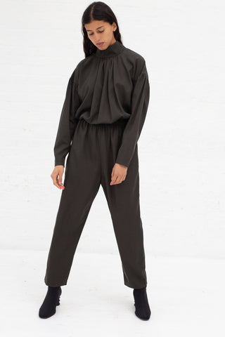 Black Crane Tulip Jumpsuit in Dark Grey Tencel/Cotton | Oroboro Store | New York, NY