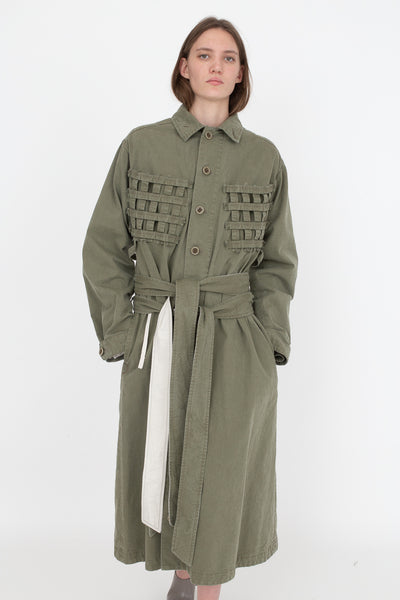 Bernhard Willhelm Jacket in Green, Front View Hands in Pocket