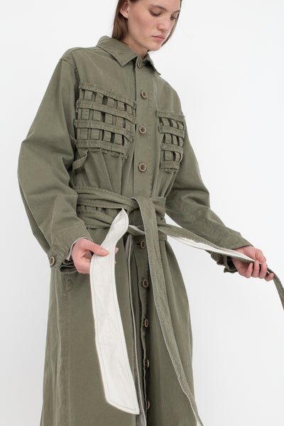 Bernhard Willhelm Jacket in Green, Side View Hands on Ties