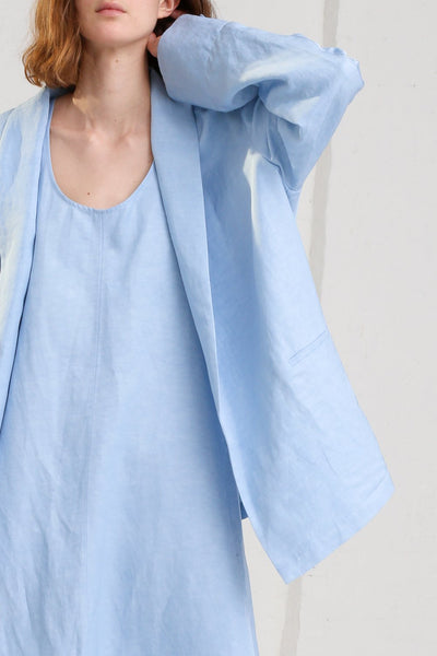 Nehera Joma Jacket in Baby Blue on model view front collar detail