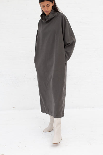 Black Crane Tube Dress in Dark Grey Cotton Flannel | Oroboro Store | New York, NY