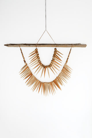 Heather Levine Large Wall Hanging With Driftwood and Spikes in Tan | Oroboro Store | New York, NY