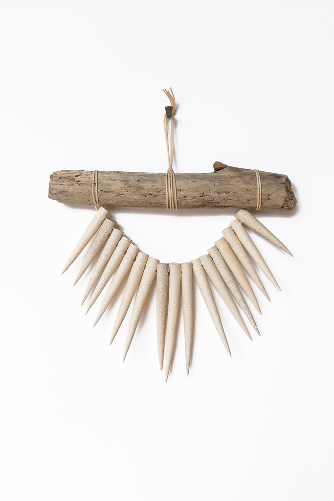 Heather Levine Small Wall Hanging With Driftwood and Spikes in Off White | Oroboro Store | New York, NY