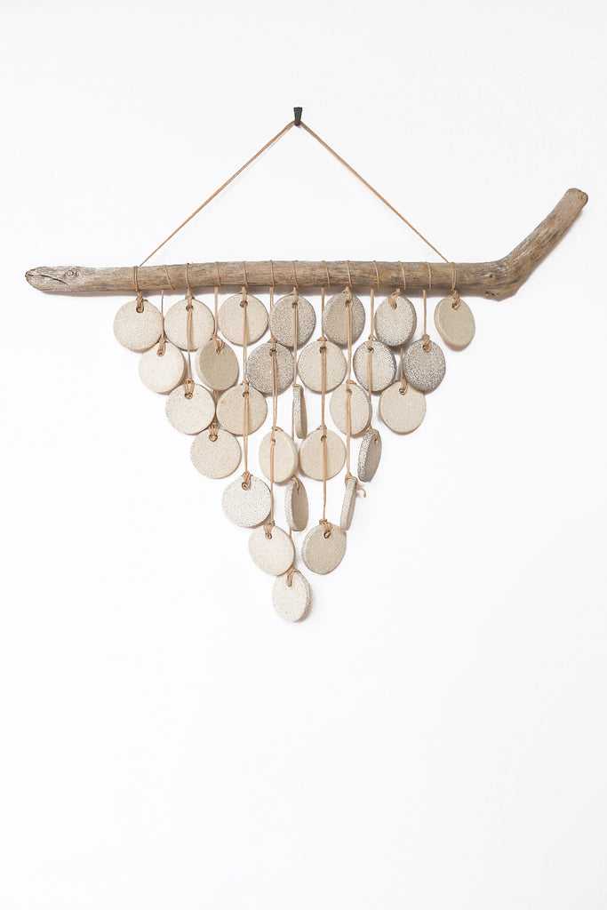 Heather Levine Medium Wall Hanging With Driftwood and Circles in Off White | Oroboro Store | New York, NY
