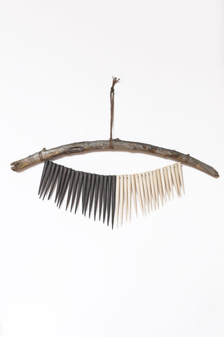 Heather Levine Medium Wall Hanging With Driftwood and Spikes in Off White/Black | Oroboro Store | New York, NY