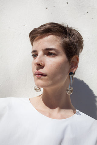Samma Onda Circle Earring with Long Spiral Drop in White Bronze | Oroboro Store | Brooklyn, New York