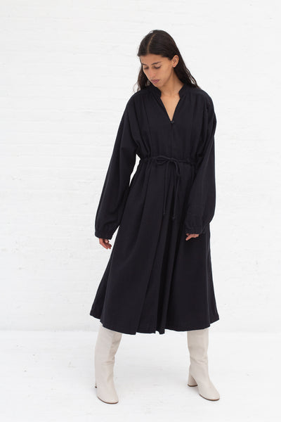 Black Crane Poet Dress in Midnight Cotton Flannel | Oroboro Store | New York, NY