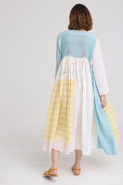Injiri Dress in Blue / Pink / Yellow on model view back