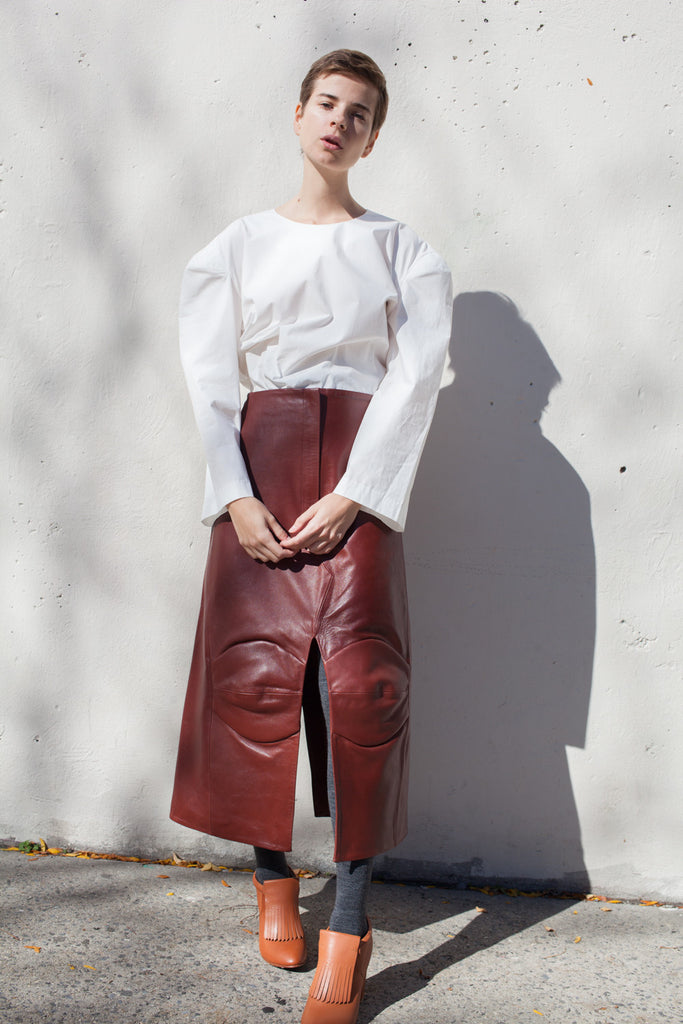 A Détacher Gertrude Skirt in Russet Leather | Oroboro Store | Brooklyn, New York