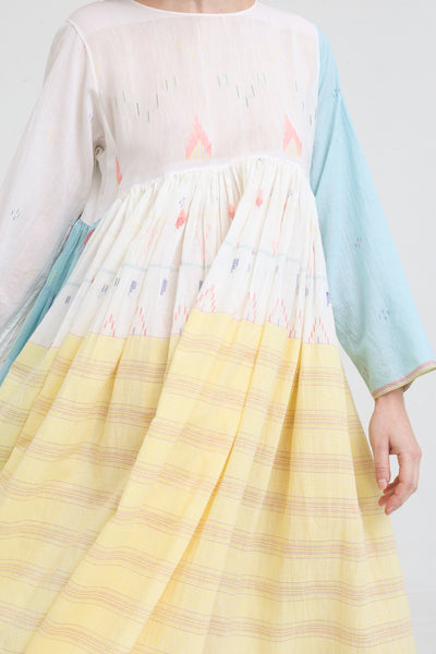 Injiri Dress in Blue / Pink / Yellow on model view front