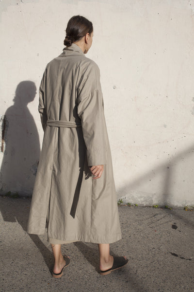 Black Crane Long Coat in Sand | Oroboro Store | Brooklyn, New York