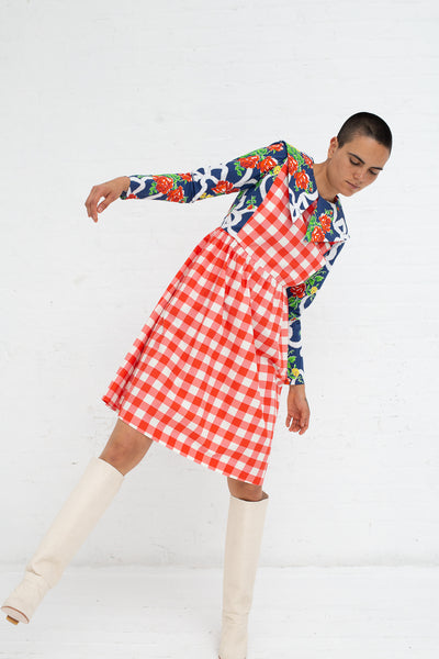 Batsheva Renaissance Dress in Gingham Blue Rose | Oroboro Store | New York, NY
