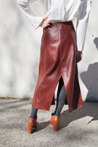 Gertrude Skirt in Russet Leather