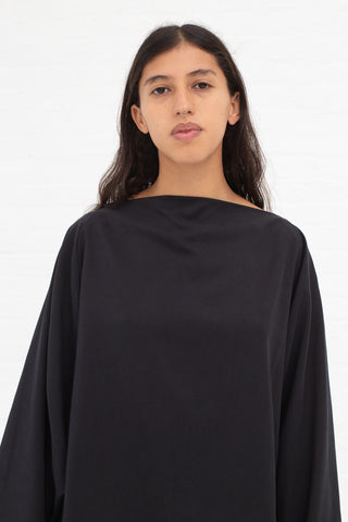 Black Crane Folded Neck Top in Midnight Tencel/Cotton | Oroboro Store | New York, NY