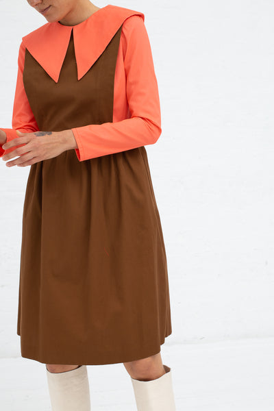 Batsheva Renaissance Dress in Coral and Brown, Front View Cropped Shoulder to Knee
